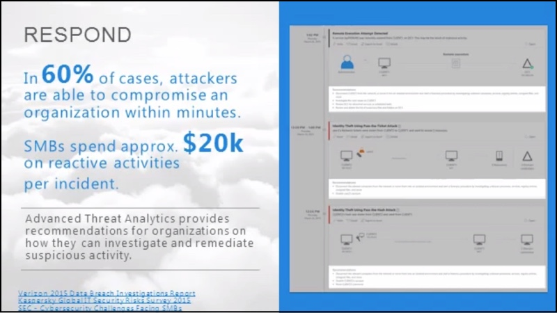 Screenshots showing how Advanced Threat Analytics provide recommendations for organizations on how they can investigate and remediate suspicious activity.