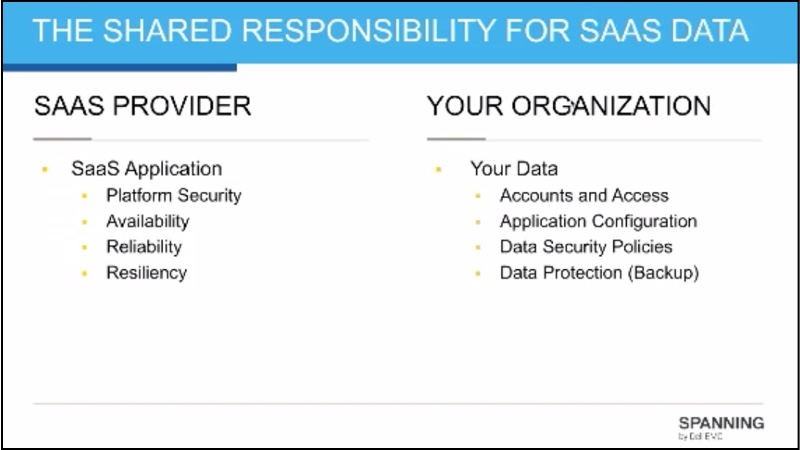 A depiction of who is responsible for SaaS data: the SaaS Provider vs. Your Organization.