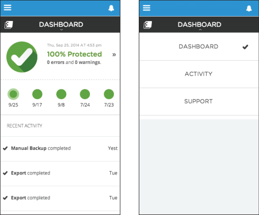 Screenshot of mobile-friendly user interface and navigation design for Spanning Backup