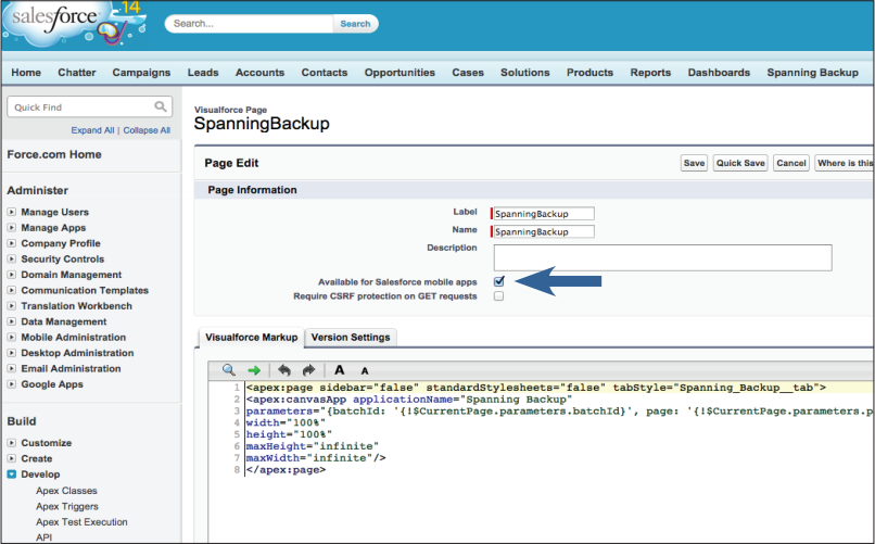 Screenshot of Step 1: Enable for Salesforce mobile apps in VisualForce Options