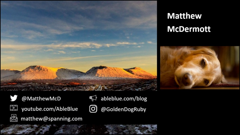 Handles to reach Matthew McDermott via Twitter, YouTube, email, personal blog, and Instagram.